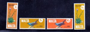 Malta MNH 432-5 Birds & Flowers
