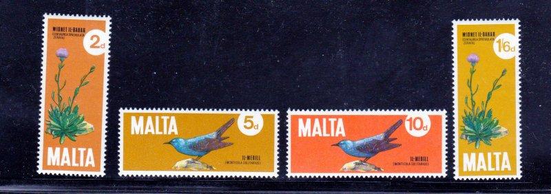 Malta MNH 432-5 Birds & Flowers