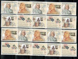 2779-82 National Postal Museum Wholesale Lot Of 20 Singles Mint/nh Below Face