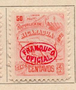 Nicaragua 1896 Early Issue Fine Mint Hinged Optd Franqueo Official 50c. 155313