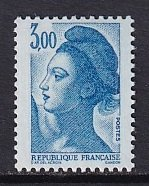 France  #1886  MNH  1983  Liberty  3fr  blue