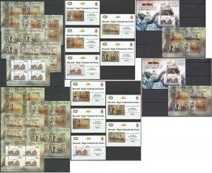 BU109 PERF,IMPERF 2012 BURUNDI TRANSPORT TRAINS INVENTION 12KB+2BL+10 LUX BL MNH