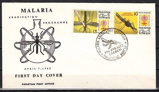Pakistan, Scott cat. 160-161. Malaria Eradication issue. First day cover.