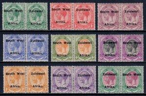 SOUTH WEST AFRICA — SCOTT 29//37 — 1923 OVPTS., SETTING VI — MH — SCV $107