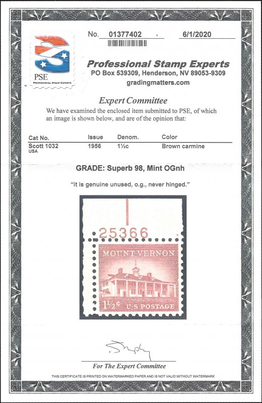 1032 Mint,OG,NH... PSE Graded Superb 98... SMQ $125.00... Only 3 graded higher