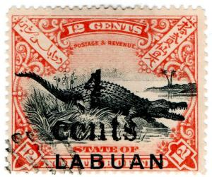 (I.B) Labuan Postal : 4c on 12c OP