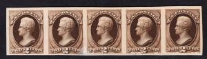 $US SC#157p4 Unused Strip of 5 VF Plate Proof on Card, CV $100.00