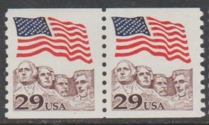 U.S. Scott #2523 Mount Rushmore Coil - American Flag Stamps - Mint NH Pair