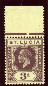 St Lucia 1930 KGV 3d deep purple/yellow superb MNH. SG 100a.