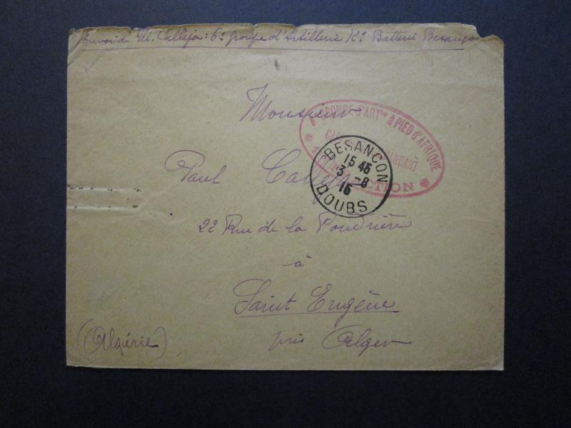 France 1915 Africa Military Cover to St Eugene Algeria / Light Creasing - Z7106