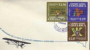 COSTA RICA ORCHIDS,OVERPRINTED 50 ANNIV LINDBERGH'S VISIT Sc C718-C720 FDC 1978