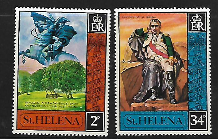 ST HELENA 261-262 MINT HING C/SET NAPOLEAN 1972 ISSUE