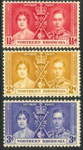 NORTHERN RHODESIA 1937 KGVI CORONATION Set Sc 22-24 MNH