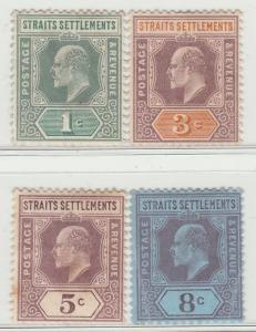 MALAYA Straits Settlements 1902 KE VII 4V Mint LH wmk CCA SG #110-114 M1396