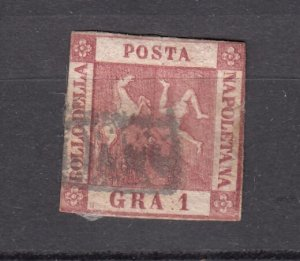 J27853 1858 italy two sicilies #2 used coat of arms