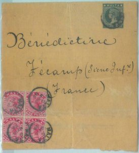 83386 - MALTA - Postal History - Stamps on STATIONERY  Wrapper to FRANCE 1895