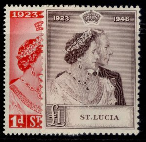 ST. LUCIA GVI SG144-145, ROYAL SILVER WEDDING set, NH MINT. Cat £17.