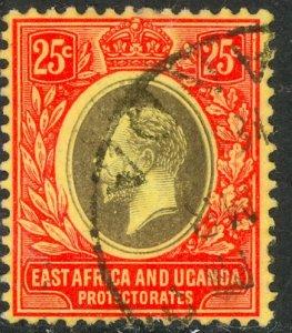 EAST AFRICA AND UGANDA 1912-18 KGV 25c Portrait Issue Sc 46 VFU