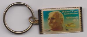 Metal Key Ring Featuring Scott C129 William Piper Stamp