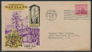 #736 FDC CACHET BY PARSONS MARCH 23,1934 MARYLAND CV $80 BU2739