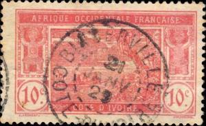 CÔTE-D'IVOIRE - 1929 - CAD BINGERVILLE / COTE-D'IVOIRE DOUBLE CERCLE SUR N°64