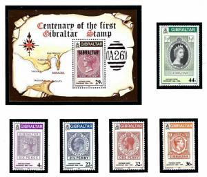 Gibraltar 485-90 MNH 1986 First Gibraltar Stamp Centenary