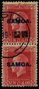 SAMOA 1916-19 GV 6d 2 perf pair fine used SG141b...........................24573