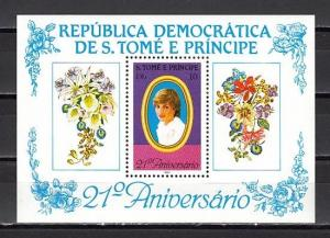 St.Thomas, Scott cat. 657. Lady Diana`s Birthday s/sheet. Orchid in Label.