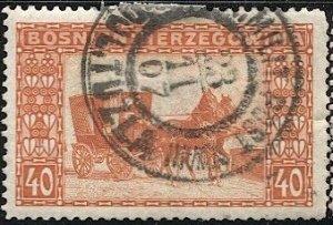 BOSNIA HERZEGOVINA  Austria 1906 Sc 40 Used 40h, DOL. TUZLA  Military Cancel