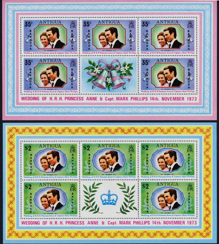 Barbuda 103-4 sheets MNH Princess Anne, Mark Phillips Wedding