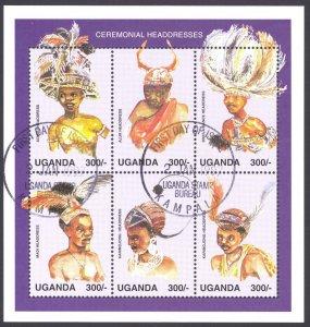 Uganda Sc# 1465 FD Cancel 1997 300sh Traditional Attire sheet/6