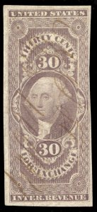 01302 U.S. Revenue Scott R51a 30-cent Foreign Exchange imperforate, SCV = $200