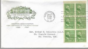 US 804b  FDC  GEORGE WASHINGTON, BOOKLET PANE, FARNAM CACHETS