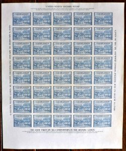 1948 U.S. Olympics Committee London - St. Moritz Poster Stamp Imperf Sheet (40)