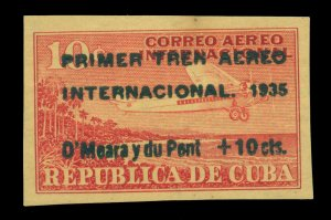 SPANISH ANTILLES 1935 AIRMAIL O'Meara & du Pont flight 10c+10c surch. Sc# C17 MH