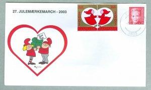 Denmark. Cover Santa,Gift.  # 27 Christmas Seals Walk 2003. 4.25 Kr. Hjorring.