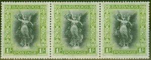 Barbados 1920 1s Black & Brt Green SG209 V.F MNH & MM Strip of 3