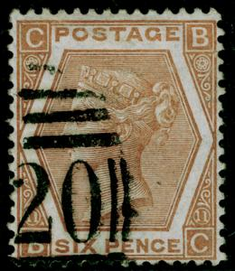 SG122a, 6d chestnut plate 11, FINE USED. Cat £65. BC