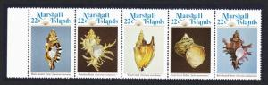 Marshall Is. Sea Shells 1st series strip of 5v with margin SG#41-45 SC#69a