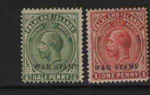 FALKLAND ISLANDS MR1-MR2 HR WAR TAX STAMPS 1918-20 SET