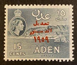 Aden Scott 63 QEII 15 Cent Overprint-Mint NH