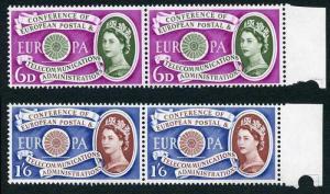 SG621/2 1960 Europa Set Pairs U/M