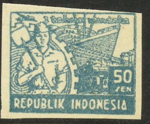 INDONESIA JAVA REVOLUTIONARY ISSUES 1948 50s WORKER & SHIP Sc 1L44 MNGAI