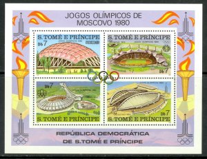 ST THOMAS AND PRINCE ISLANDS 1980 MOSCOW OLYMPICS Souvenir Sheet Sc 572 MNH