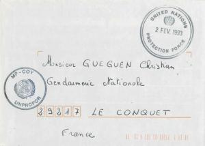 France Military Free Mail 1993 United Nations, Protection Force illustrated c...