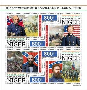 NIGER - 2021 - Battle of Wilson's Creek - Perf 4v Sheet - Mint Never Hinged