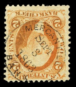 B511 U.S. Revenue Scott R6c 2c Bank Check, 1863 Mercantile Bank handstamp cancel