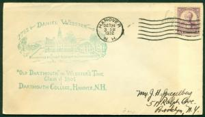 SCOTT # 725 FDC, DARTMOUTH COL. CACHET, SCRIPT ADDRESS, HANOVER, NH, GREAT PRICE