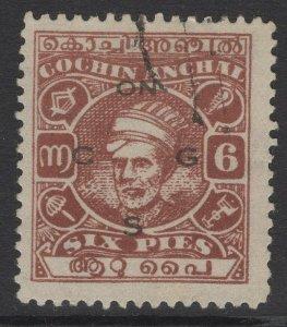 INDIA-COCHIN SGO69b 1943 6p RED-BROWN p11 USED