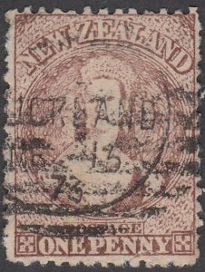 NEW ZEALAND 1870 Chalon 1d brown SG132 used................................790